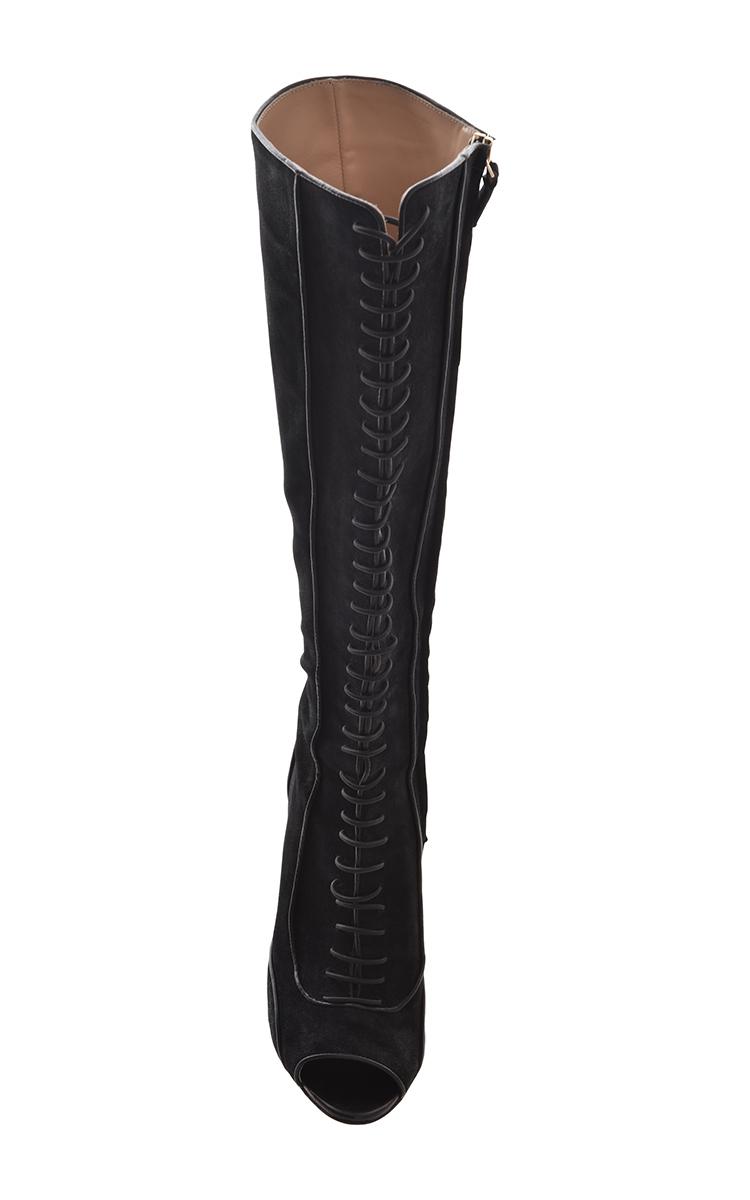 lace up knee high boots by giambattista valli moda operandi