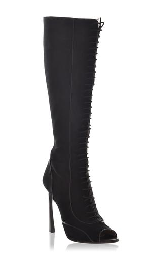 Medium giambattista valli black lace up knee high boots