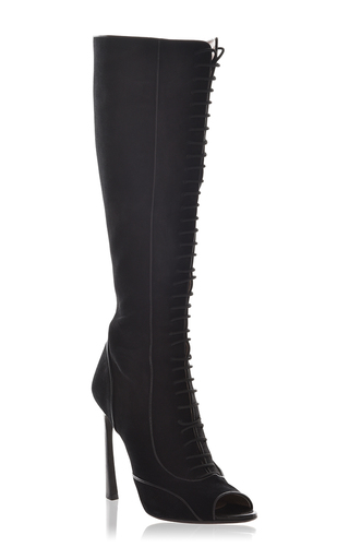 Medium giambattista valli black lace up knee high boots