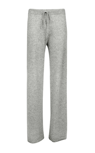 Medium pringle of scotland light grey silk cashmere loose fit pant