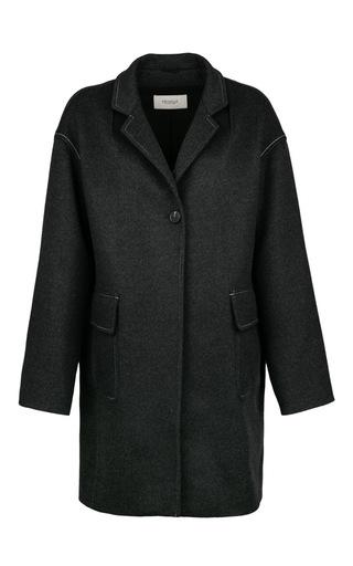 Medium pringle of scotland light grey cashmere wool cocoon coat