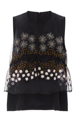 Medium suno black peplum top with embellished overlay