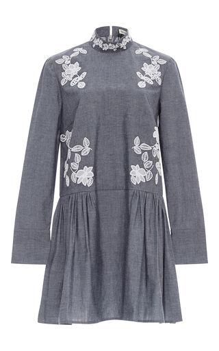 Medium suno dark grey embroidered cutout dress