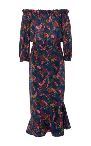 Medium saloni floral grace off the shoulder midi dress