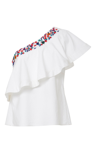 Medium saloni white esme one shouldered ruffled top