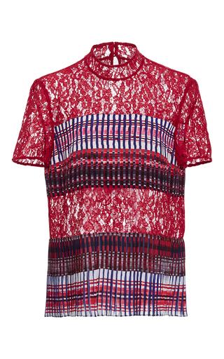 Medium saloni stripe dita lace and silk top