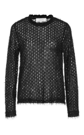 Medium carven black fantasy jersey sheer sweater