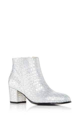 Medium carmelinas silver ana bootie in silver crocodile embossed calf leather