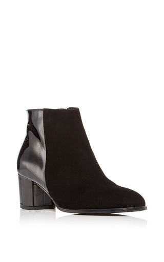 Medium carmelinas black ana bootie in black suede and patent leather