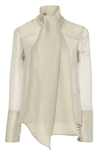 Medium anna sammarone silver long sleeve bow blouse