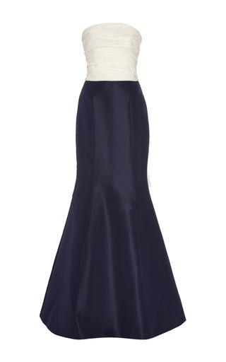 Medium carolina herrera navy two part strapless column gown