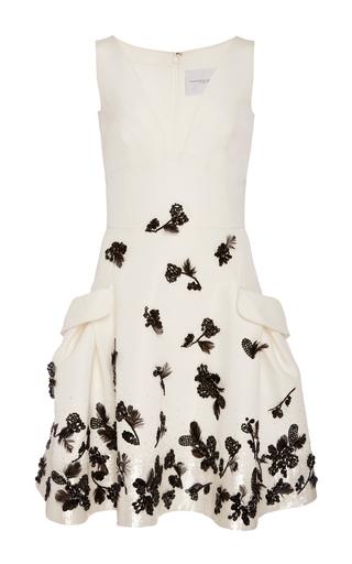 Medium carolina herrera ivory floral beaded dress
