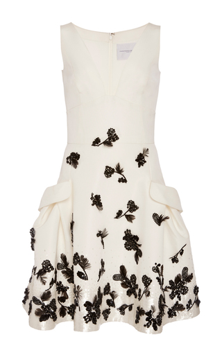 Medium carolina herrera ivory floral beaded dress