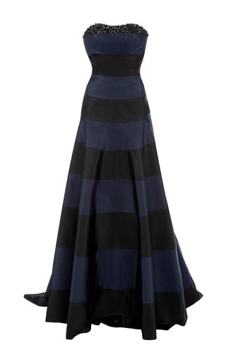 Medium carolina herrera black striped gown with train
