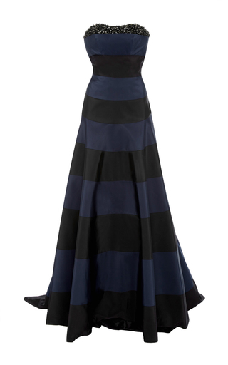 Medium carolina herrera black striped gown with train