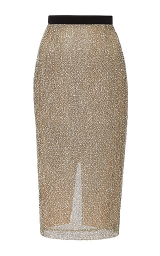 Medium roland mouret black arreton boucle mesh skirt