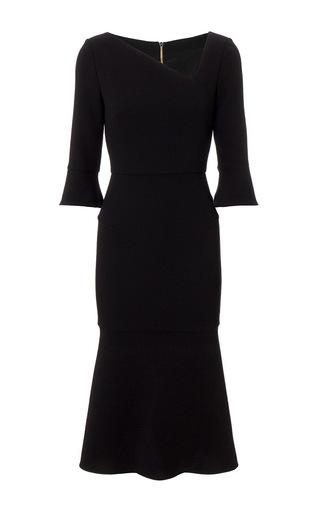 Medium roland mouret black dagnal wool crepe dress