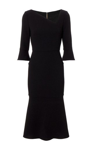 Medium roland mouret black dagnal wool crepe dress