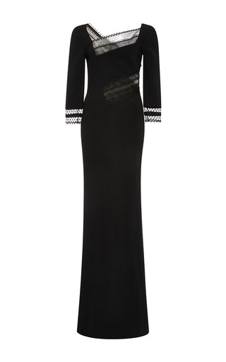 Medium roland mouret black beaumont layered lace gown