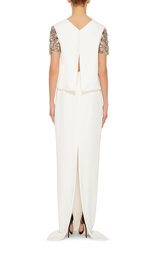 Crystal Embellished Sleeve Top by MONIQUE LHUILLIER Now Available on Moda Operandi