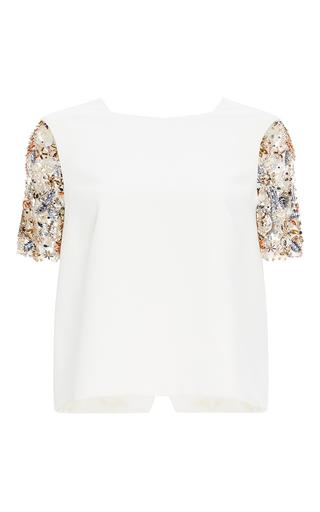 Medium monique lhuillier white crystal embellished sleeve top