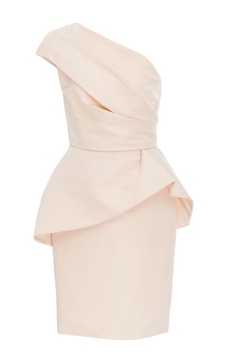 Medium monique lhuillier light pink one shouldered peplum dress