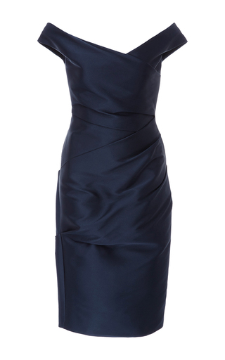 Medium monique lhuillier navy off the shoulder dress