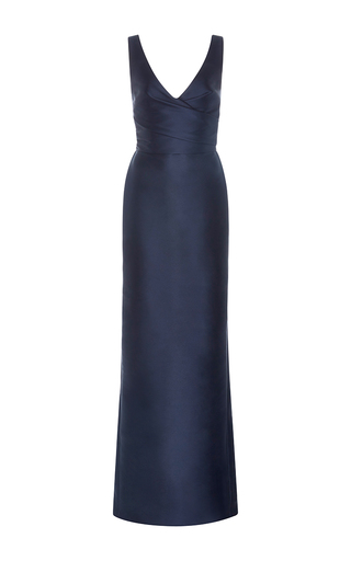 Medium monique lhuillier navy draped column gown