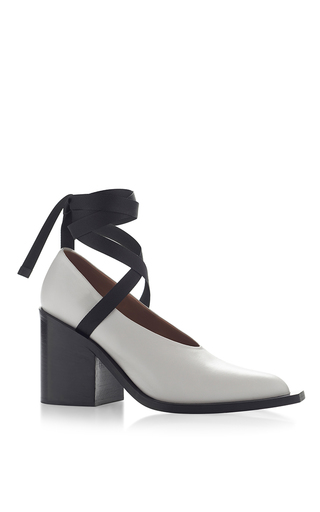 Natural Grey Vitello Leather Lace Up Pump by MARNI for Preorder on Moda Operandi