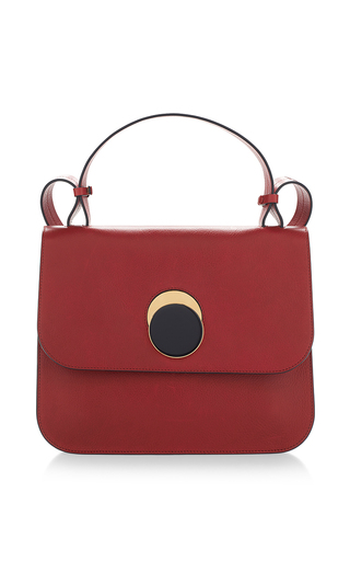 Medium marni red tulip vitello leather shoulder bag