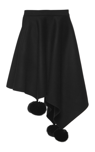 Medium marni black heavy felt pom pom skirt