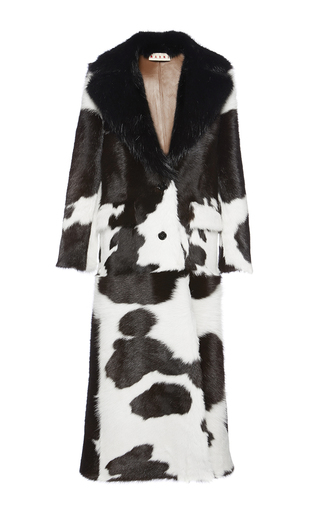 Medium marni brown spotted calf hair coat