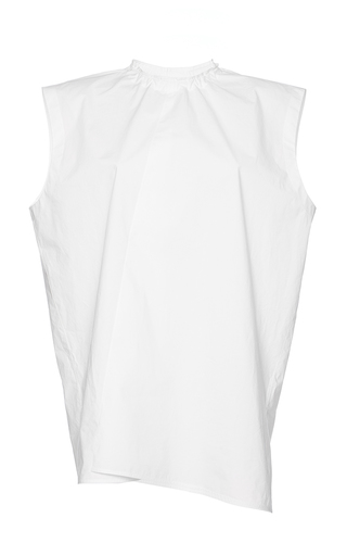 Medium marni white cotton poplin pleated top