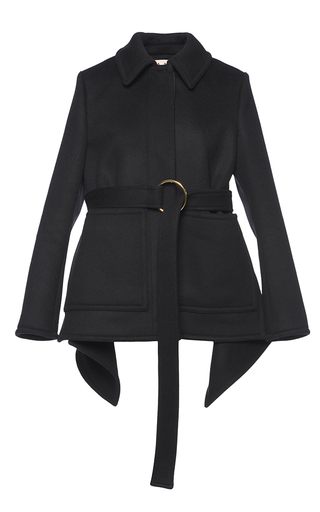 Medium marni black heavy felt belted jacket