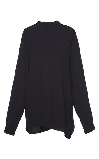 Medium marni navy pleated satin back crepe blouse