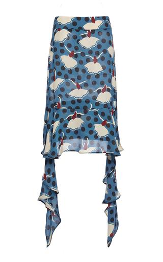 Medium marni blue silk georgette pirouette skirt