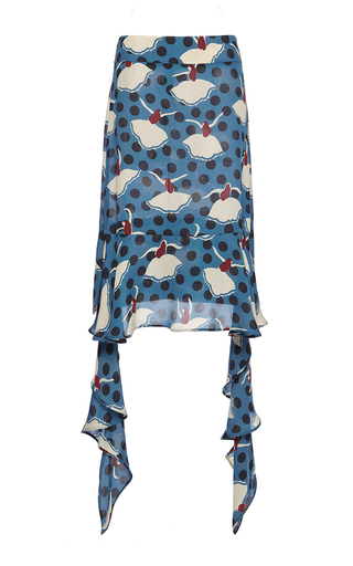 Medium marni blue silk georgette pirouette skirt