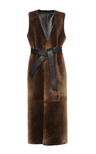 Medium marni brown belted fur waistcoat