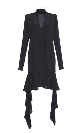 Medium marni black silk crepe scarf neck dress