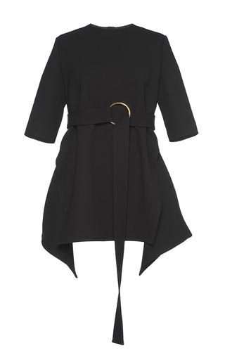 Medium marni black belted bonded wool asymmetric top
