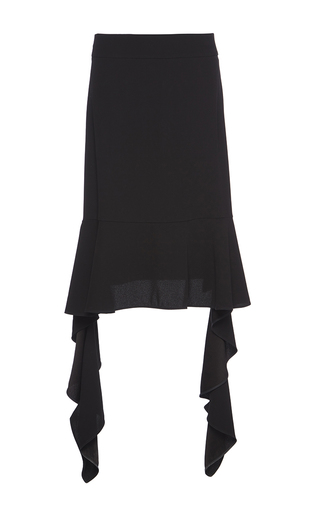 Medium marni black satin back crepe ruffle skirt