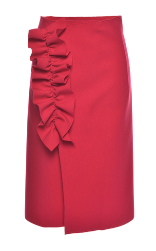 Medium msgm red ruffled technical crepe wrap skirt