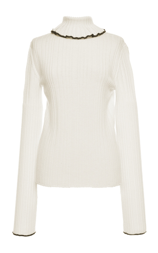 Medium msgm ivory ivory rib stitch knit turtleneck