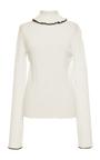 Ivory Rib Stitch Knit Turtleneck  by MSGM Now Available on Moda Operandi