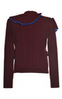 Bordeaux Ruffled Rib Stitch Knit Crewneck by MSGM Now Available on Moda Operandi