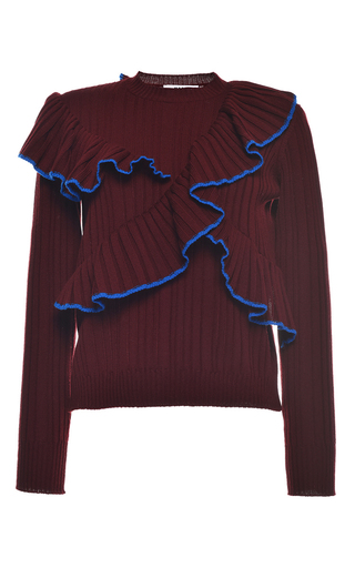 Medium msgm burgundy bordeaux ruffled rib stitch knit crewneck