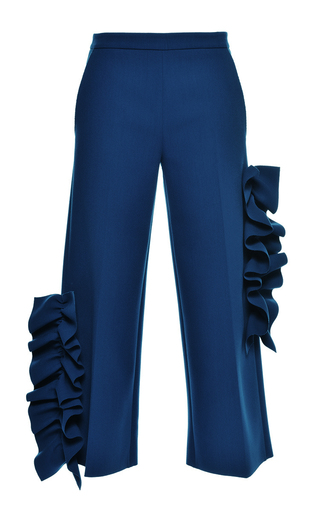 Medium msgm blue blue ruffled technical crepe pants