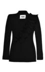 Black Ruffled Technical Crepe Jacket by MSGM Now Available on Moda Operandi