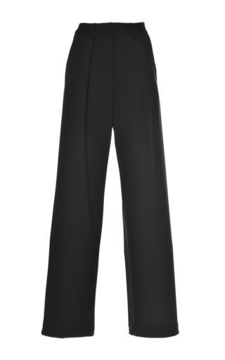 Medium msgm black crepe cady pleated pant