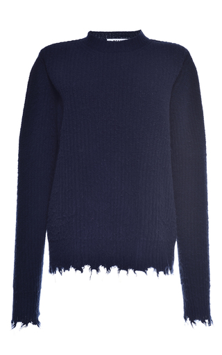 Medium msgm navy navy brushed wool fringe sweater